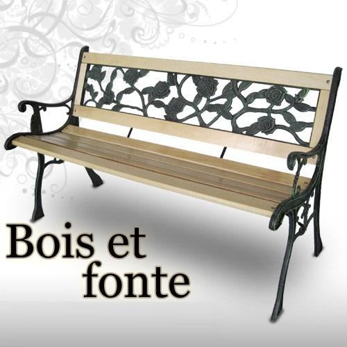 banc de jardin en bois massif et fonte 4 versions. Black Bedroom Furniture Sets. Home Design Ideas