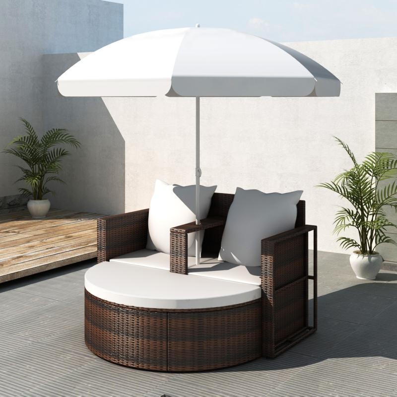 canape de jardin rond en r sine tress e marron parasol. Black Bedroom Furniture Sets. Home Design Ideas