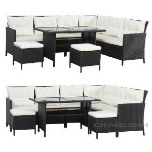 Salon de jardin canapé résine tressée + table 10 personnes