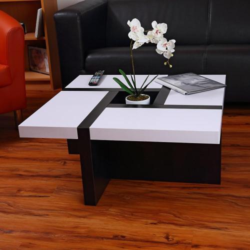 Table Basse De Salon Design En Bois Noir Blanc