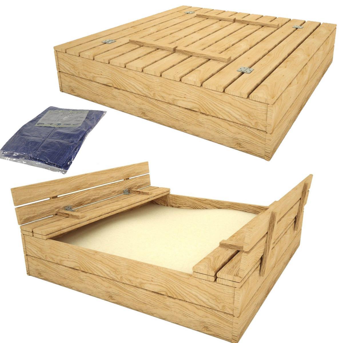 bac sable carr 120 x 120 cm avec banc couvercle. Black Bedroom Furniture Sets. Home Design Ideas
