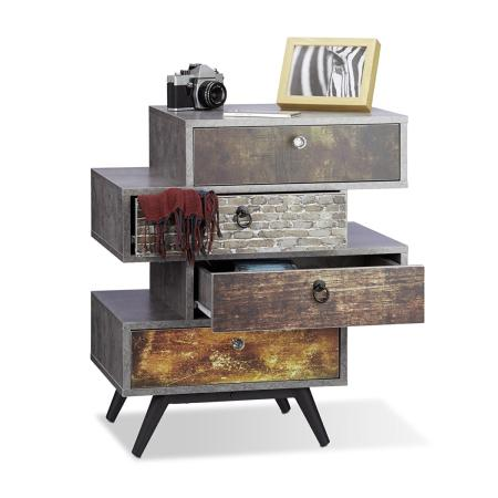 commode vintage design 4 tiroirs style industriel gris. Black Bedroom Furniture Sets. Home Design Ideas