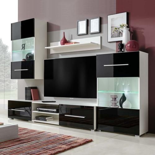 Meuble Tv 240 Cm 5 Elements Avec Eclairage Laque Noir