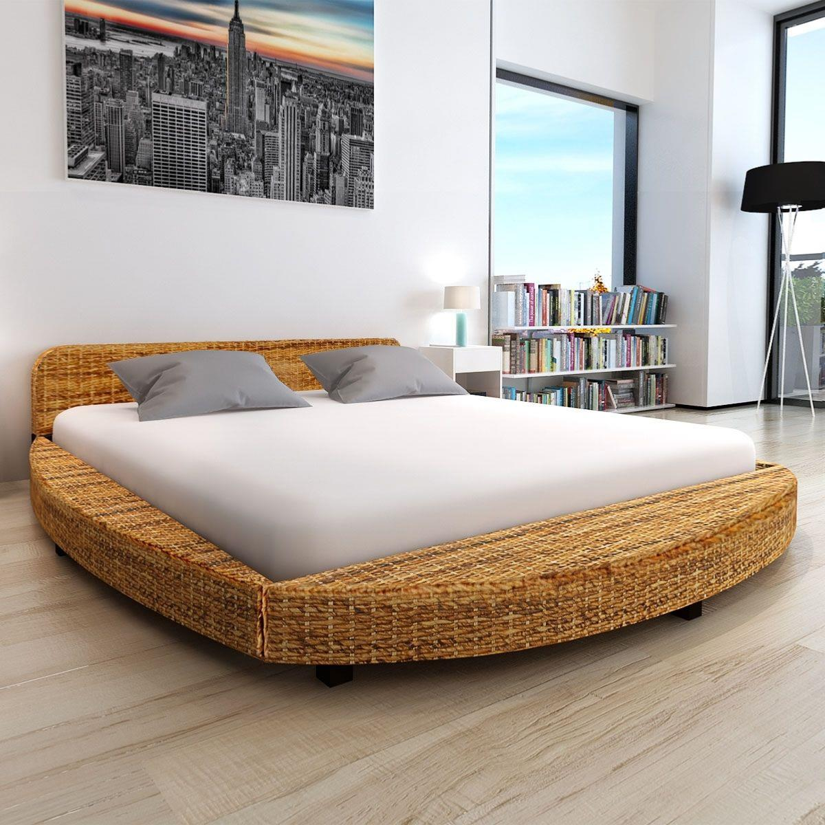 lit rond en bois d 39 acajou et abaca pour matelas 180 x 200 cm. Black Bedroom Furniture Sets. Home Design Ideas