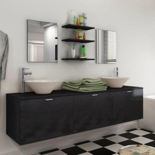 MEUBLE de salle de bain complet noir, double vasque