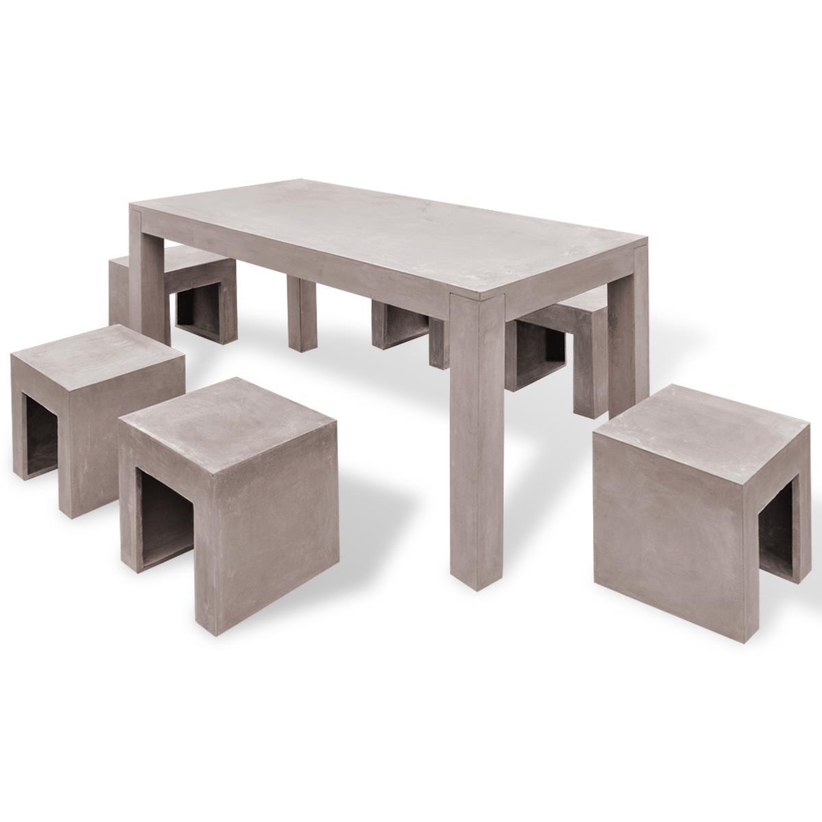 Salon de jardin en b ton complet table avec 6 tabourets for Salon de jardin en beton