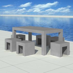 Salon De Jardin En Beton Complet Table Avec 6 Tabourets