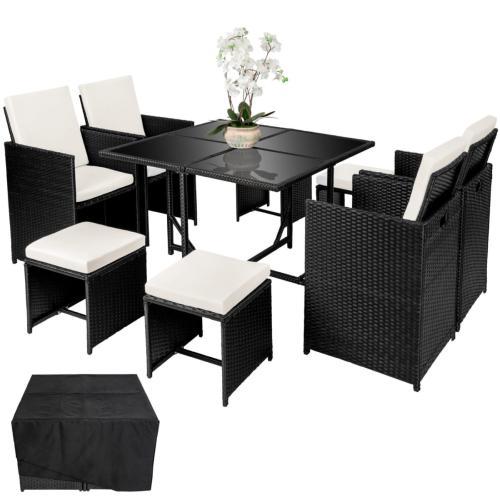 Salon de jardin résine tressée, noir ,8, 10 ou 12 personnes, modèle CUBA