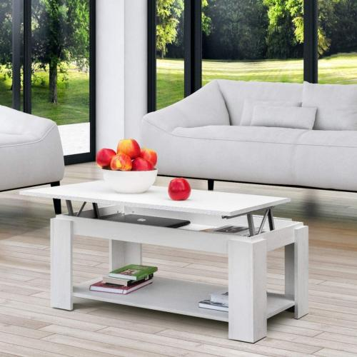 TABLE basse, blanc marbré gris, 100 cm, plateau relevable, GALION