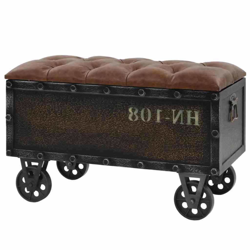 Banc, coffre style Wagon vintage, acier, cuir et bois