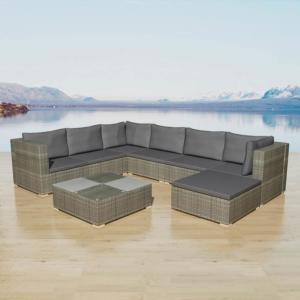 Salon de jardin canapé résine tressée gris, 280 x 210 cm