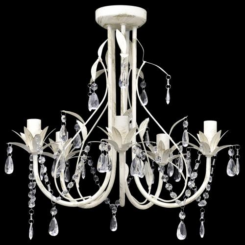 lustre suspendu cristal design 5 branches blanc antique. Black Bedroom Furniture Sets. Home Design Ideas