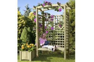 pergola avec banc en bois massif mod le jyva. Black Bedroom Furniture Sets. Home Design Ideas
