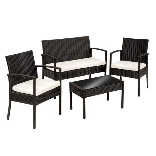 SALON de JARDIN, 4 places en résine tressée avec table basse, noir