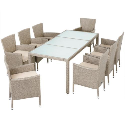 Ensemble Table Et 8 Chaises De Jardin En Rotin Beige