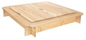bac sable carr 120 x 120 cm bois massif avec couvercle. Black Bedroom Furniture Sets. Home Design Ideas