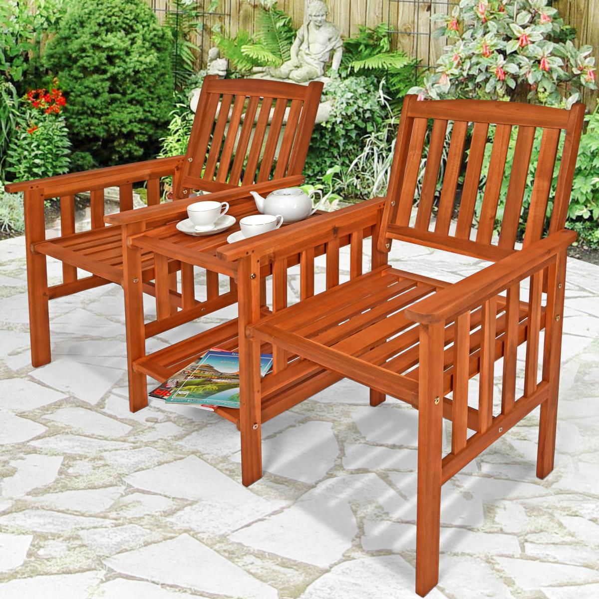 Banc de jardin double avec table en acacia - Table de jardin avec banc ...