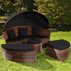 canap de jardin rond modulable en rsine tresse 10 coloris - Canape De Jardin