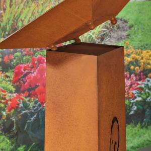 Colonne Decoration Jardin En Metal Galvanise Couleur Rouille