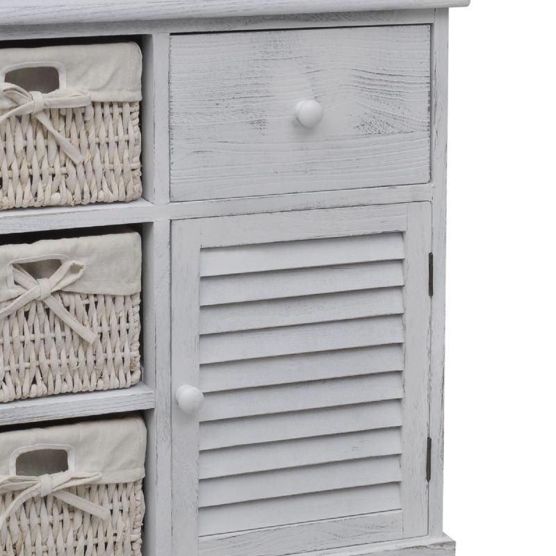 commode bois avec 3 paniers blanc. Black Bedroom Furniture Sets. Home Design Ideas