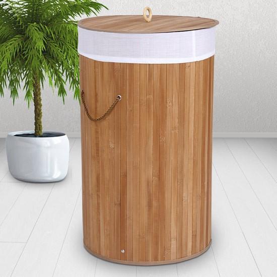 corbeille linge 50 litres en bambou naturel clair. Black Bedroom Furniture Sets. Home Design Ideas