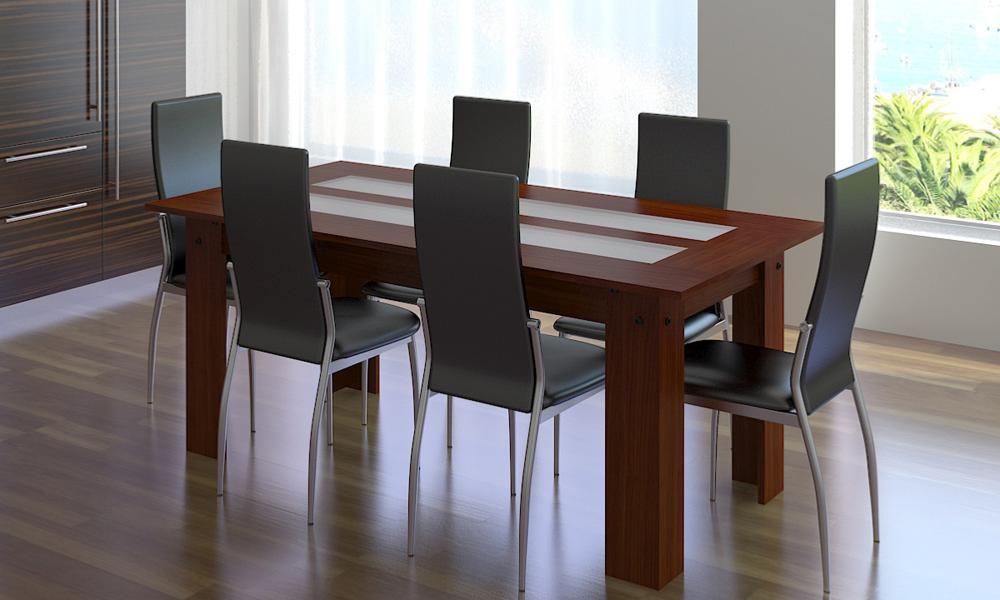 Salle manger table et 6 fauteuils cuir blanc ou noir - Chaise cuir noir salle manger ...