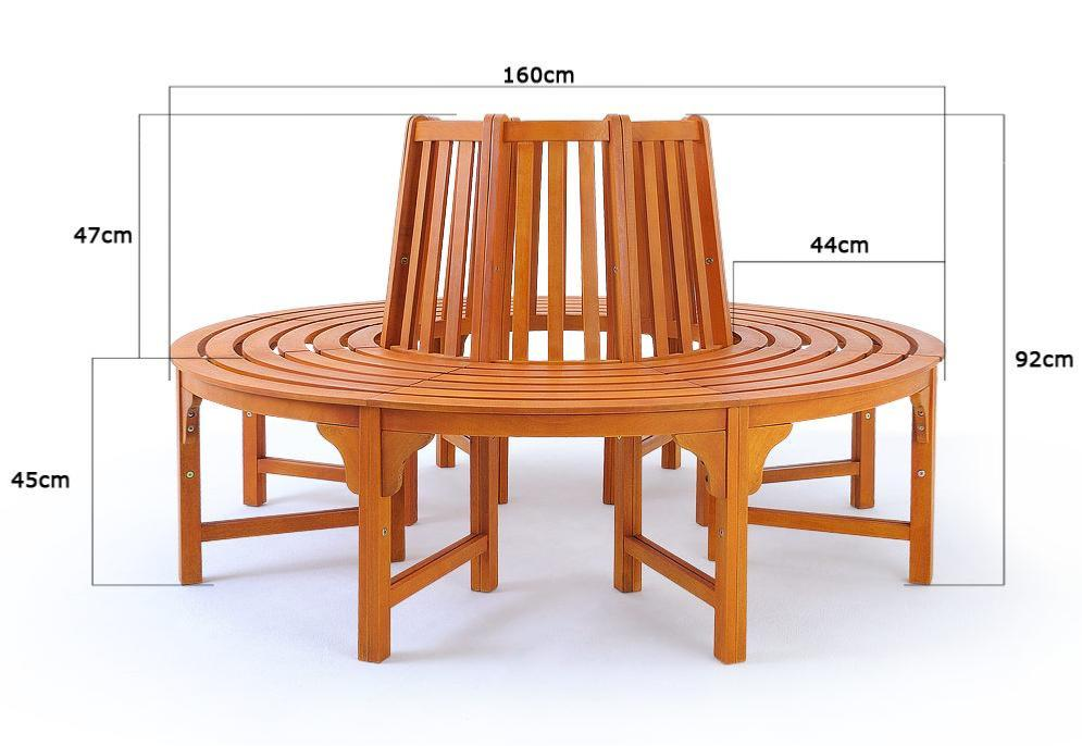 banc de jardin circulaire bois exotique 160 cm. Black Bedroom Furniture Sets. Home Design Ideas