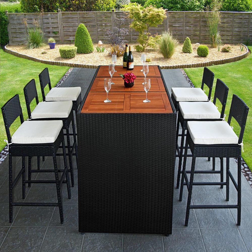 Bar de jardin en r sine tress e noir et bois exotique 6 - Tabouret de bar pour exterieur ...