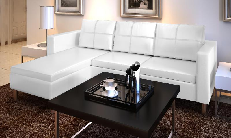 canape de salon en cuir blanc. Black Bedroom Furniture Sets. Home Design Ideas