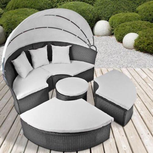 CANAPE de jardin rond modulable, gris en résine tressée.