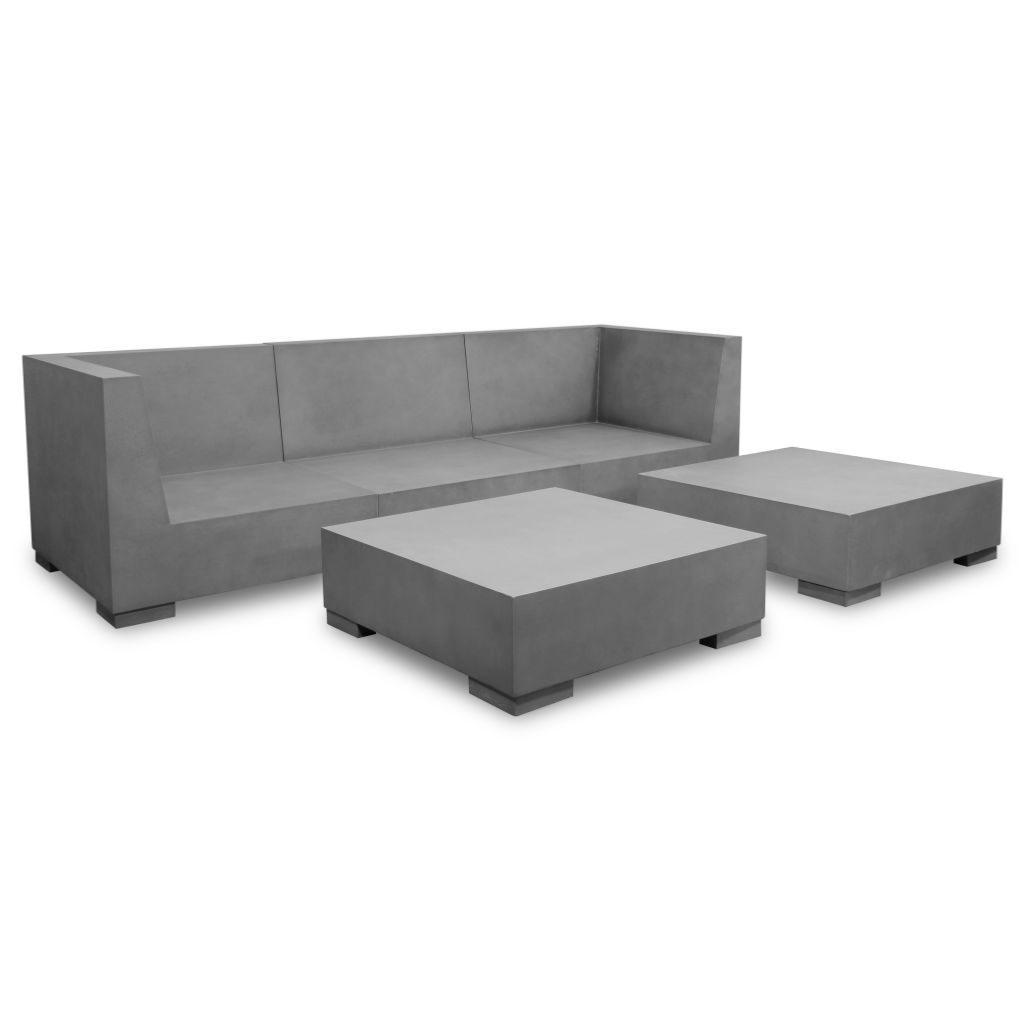 Canap salon de jardin en b ton l 225 cm - Table de jardin beton ...