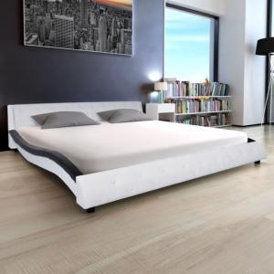 Lit Moderne 180 X 200 Cm Cuir Blanc Et Noir Et Matelas