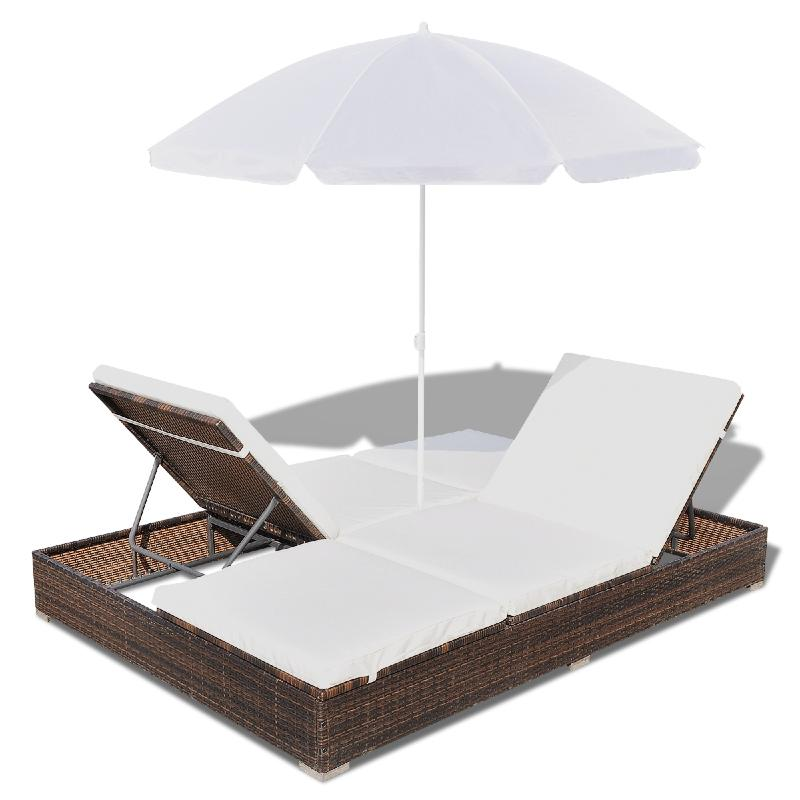 lit de jardin double en r sine tress e avec parasol. Black Bedroom Furniture Sets. Home Design Ideas