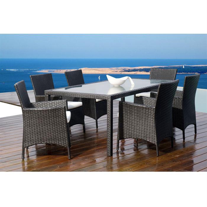 salon en resine tressee aluminium 6 chaises. Black Bedroom Furniture Sets. Home Design Ideas