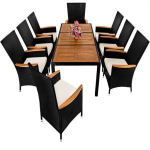 Salon de jardin résine tressée - bois exotique 8 personnes