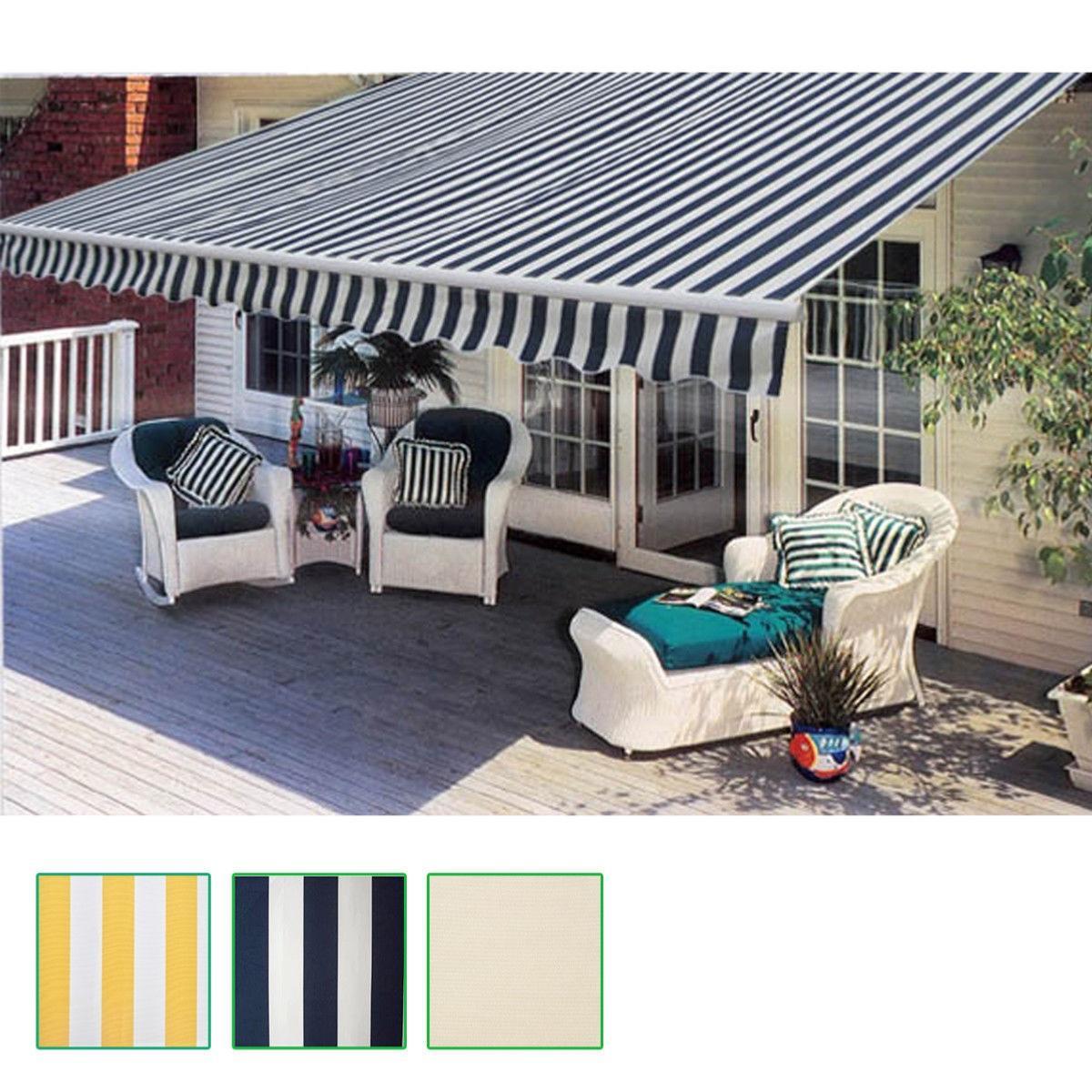 store banne motoris alu 600 cm avec toile bleu blanc. Black Bedroom Furniture Sets. Home Design Ideas