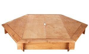 bac sable hexagonal avec couvercle bois massif verni. Black Bedroom Furniture Sets. Home Design Ideas