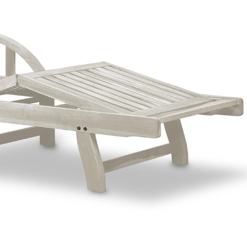 bain de soleil pliable haut de gamme en acacia blanc antique. Black Bedroom Furniture Sets. Home Design Ideas