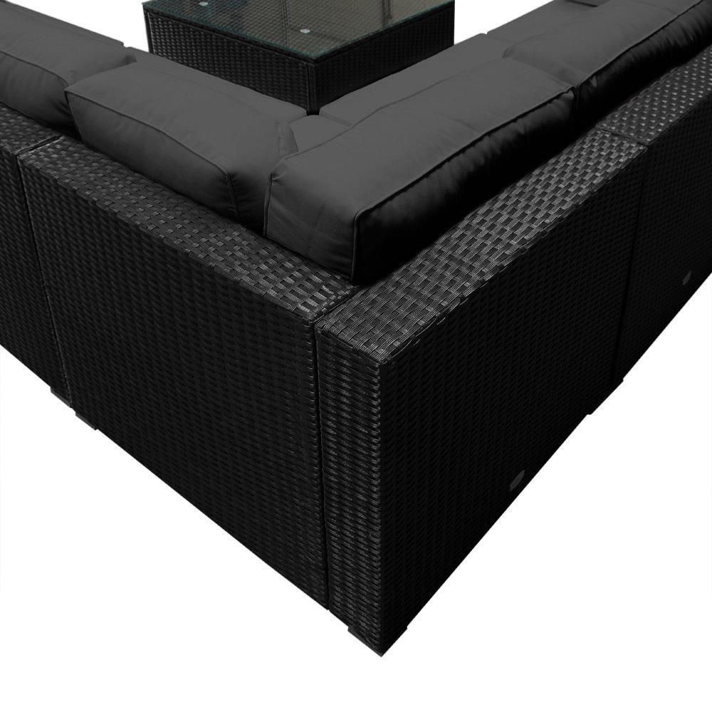 salon canap de jardin d 39 angle r sine tress e gris anthracite. Black Bedroom Furniture Sets. Home Design Ideas