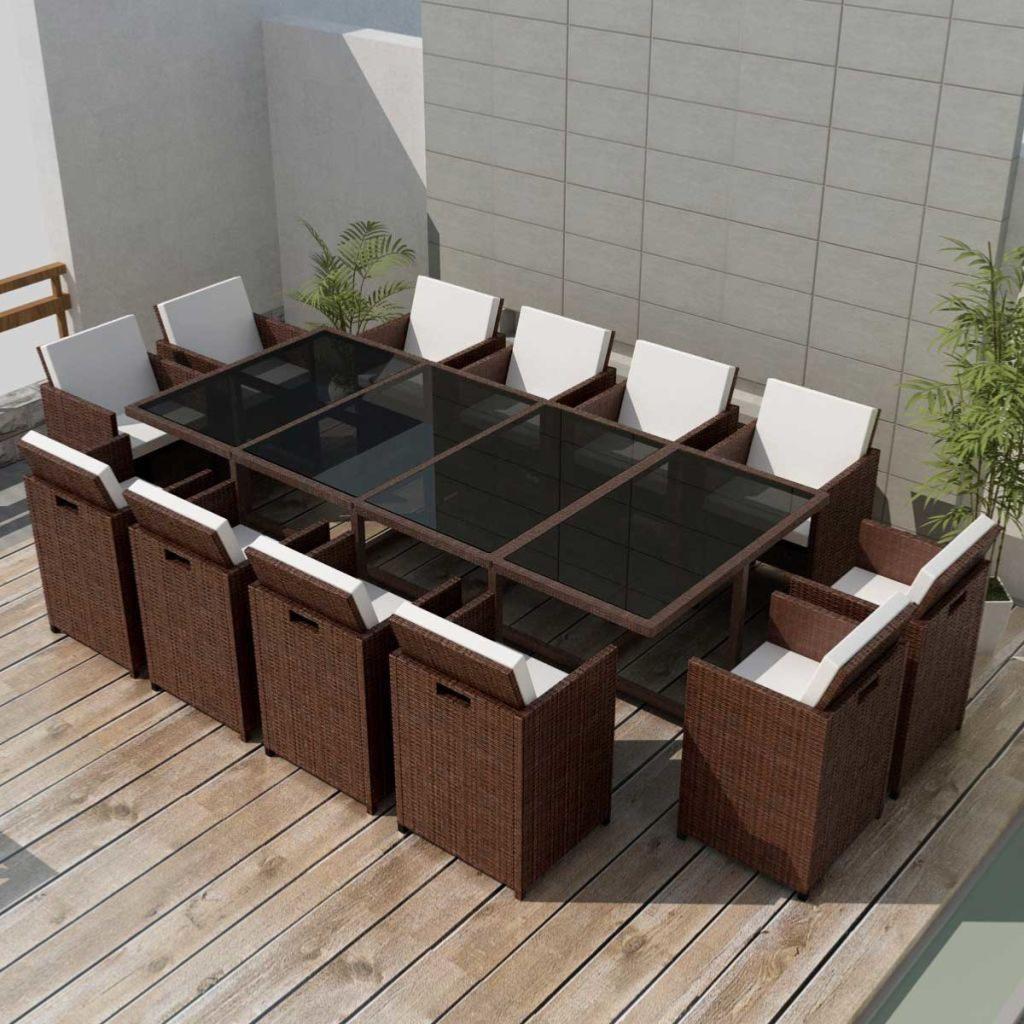 Salon jardin résine tressée 3 coloris,12 fauteuils, LUXE