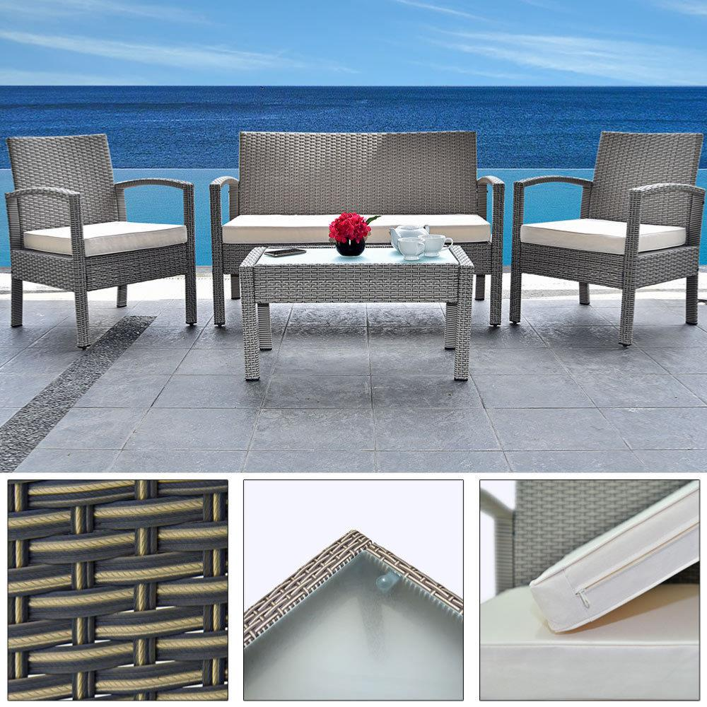 Salon jardin 4 places r sine tress e table basse gris - Table de jardin resine tressee 4 places ...