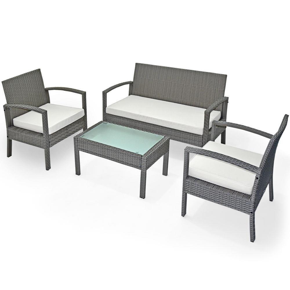salon jardin 4 places r sine tress e table basse gris. Black Bedroom Furniture Sets. Home Design Ideas