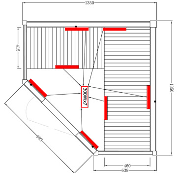 sauna infrarouge chromotherapie 4 personnes. Black Bedroom Furniture Sets. Home Design Ideas