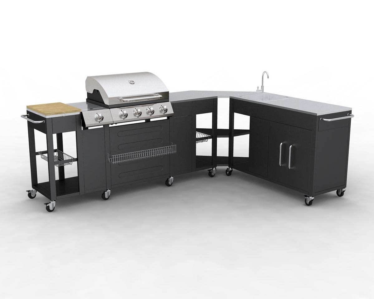 Barbecue gaz inox meuble cuisine avec vier - Meuble cuisine inox ikea ...