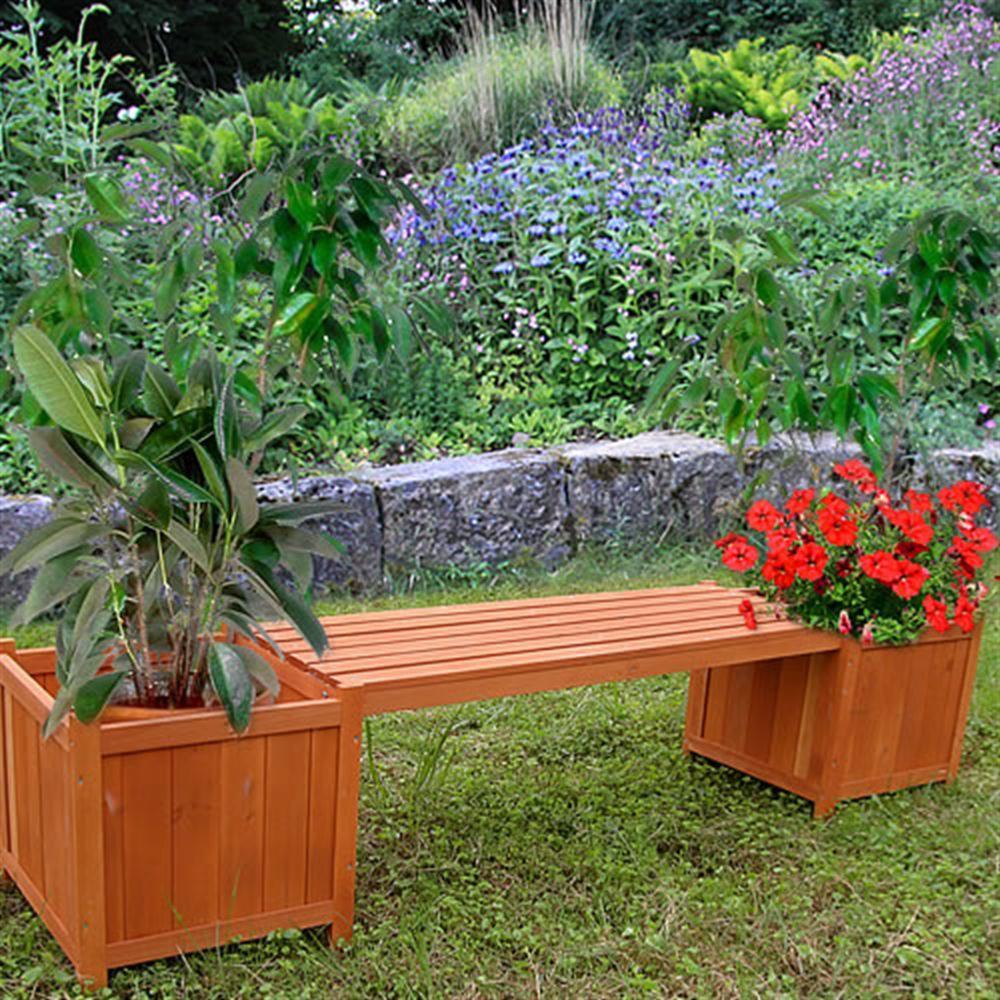 banc de jardin avec bacs fleurs en bois massif. Black Bedroom Furniture Sets. Home Design Ideas