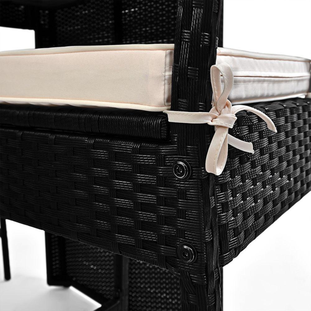 bar de jardin acacia et r sine tress e noir 6 chaises hautes. Black Bedroom Furniture Sets. Home Design Ideas