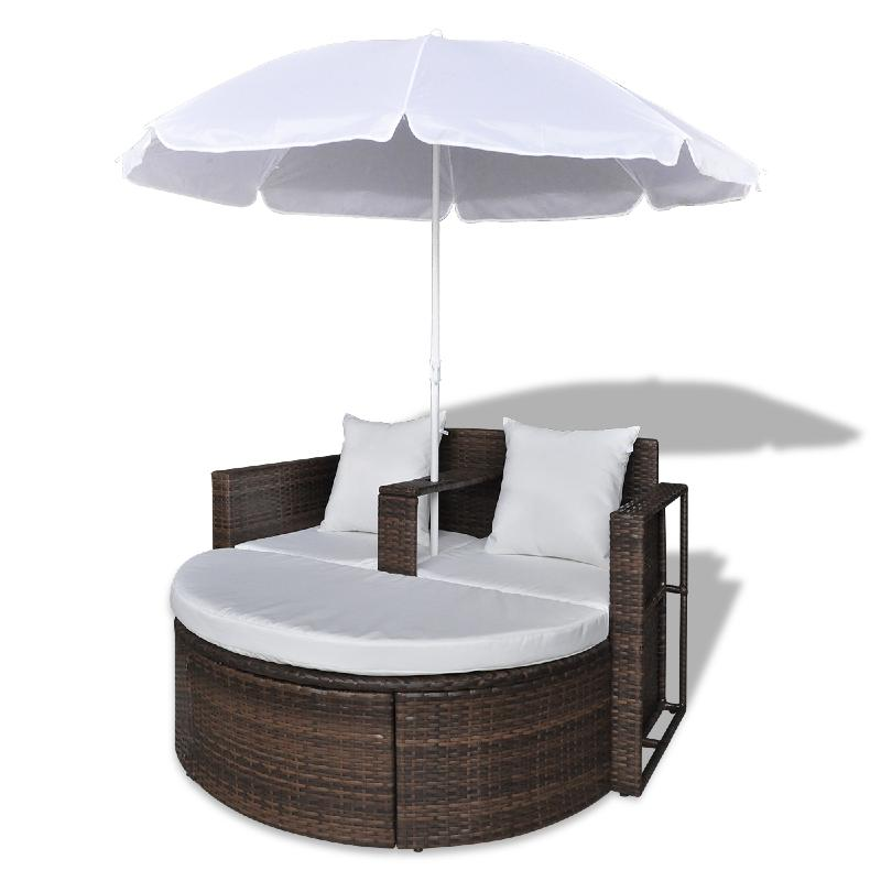 canape de jardin rond en r sine tress e marron parasol. Black Bedroom Furniture Sets. Home Design Ideas