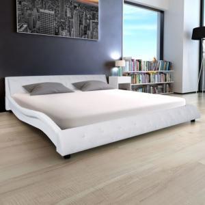 LIT DESIGN En Cuir X Cm Blanc Matelas - Lit vague 180x200