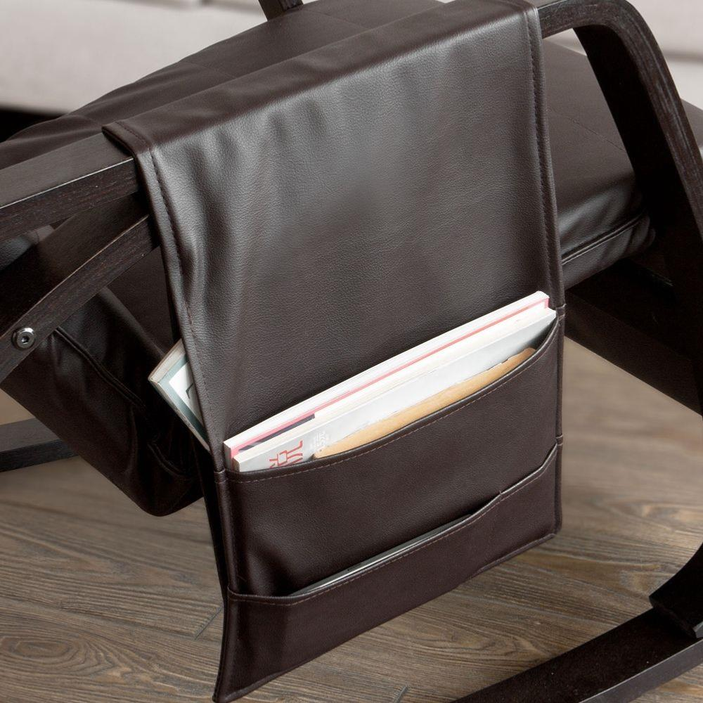 Rocking Chair De Luxe En Simili Cuir Brun