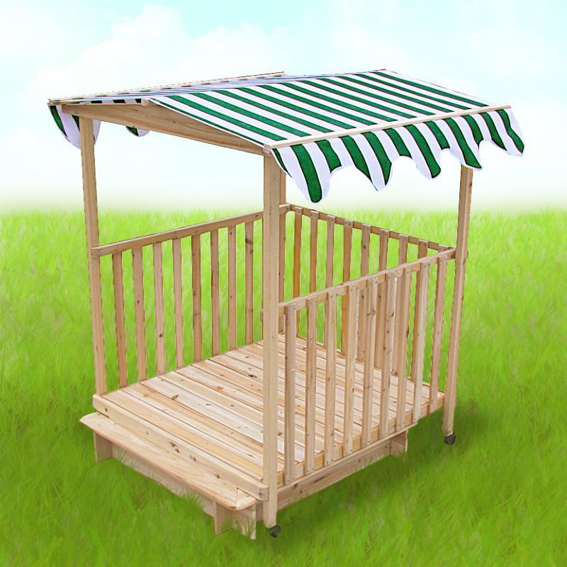 bac 224 avec abri en bois avec toit pour enfants